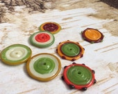 Lampwork Glass Disc Bead Set in Fall Shades
