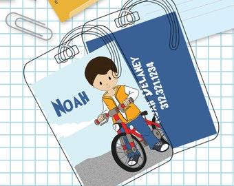 Bike Boy Luggage or Backpack Tag- Custom