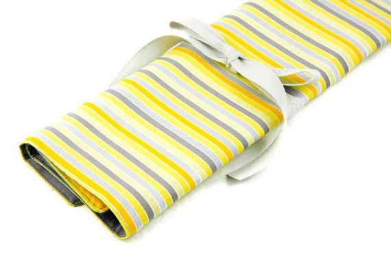 Large Knitting Needle Case Organizer - Yellow Matters - 30 gray pockets for circular, straight, dpn, or paint brushes