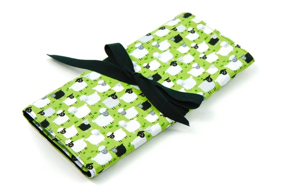 SHORT Knitting Needle Organizer Case - Jolly Sheep - 24 black pockets for circular, double pointed, interchangeable or travel