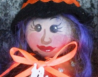 HALLOWEEN Ornaments -LIL WITCHES, hanging, Art Dolls, Cloth Dolls, Holiday Crafts, Home Decor, Halloween decorations, Michelle Munzone