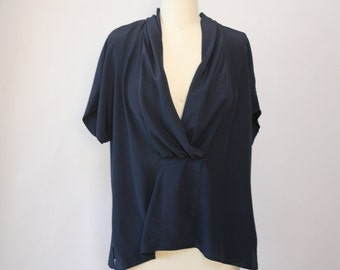 navy secretary blouse vintage