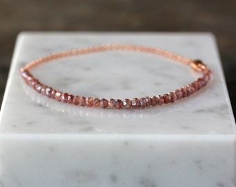 Beaded Bracelet, Rose Gold Bracelet, 14k Gold Filled, Dusty Rose Iridescent Glass, Delicate Style, Layering Bracelet, Stacking Jewelry