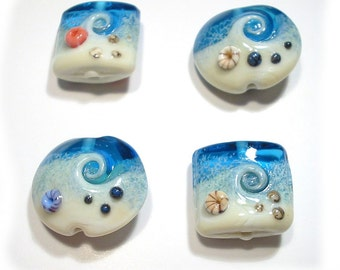 Lampwork Beads  Handmade Ocean Wave Beach  Seaside Focals