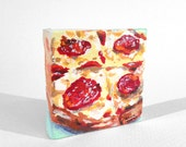 "Pepperoni Pizza 2""x2"" Miniature Painting on Canvas"