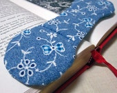 Book Weight - Blue and White Denim Look Fabric - gingham ribbon bows
