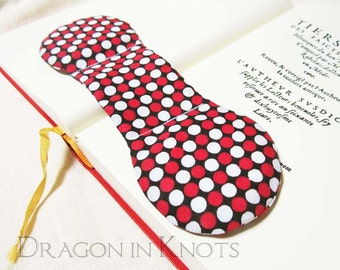 College Student Gift - Polka Dot Book Weight - Red, Black and White Geometric handmade bookweight page holder weighted bookmark bookstop
