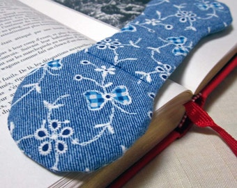 Book Weight - Western Blue and White Denim Look Fabric, back to school or graduation gift for new college student, heavy page holder