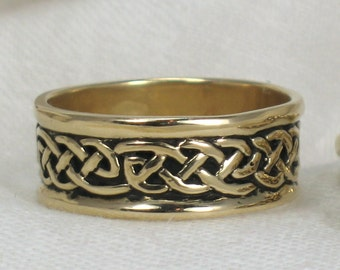 14k Gold, Celtic knot Band, Wide flat knot design. Wedding ring, Sizes 7-16