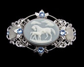 Barrette  Light Blue and Creamy White Arabian Horse Mare and Foal Cameo with Beach Glass and Crystal Accents