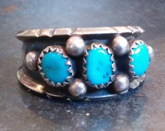 Three Stone Turquoise Bright Blue Robin's Egg, Vintage Southwest, Size 7.5, Signed and Stamped Sterling Silver