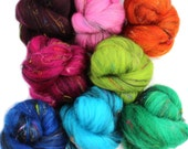 Satellite battlings -- mini batts (2.2 oz.) organic polwarth, bamboo, sari silk, sparkle.