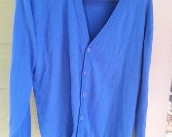 Vintage 80s Royal Blue Oversized Long Lightweight Sweater Size XL