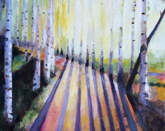 Forest painting shadows landscape oil painting print landscape Birch Forest