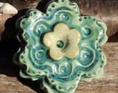 Handmade Porcelain JUMBO Flower Shank Button