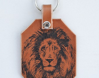 Lion Key Ring Brown Leather