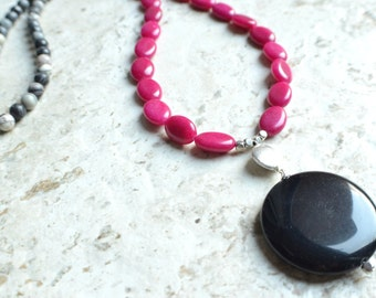 The Laney- Pink Jade, Jasper and Onyx Pendant Necklace