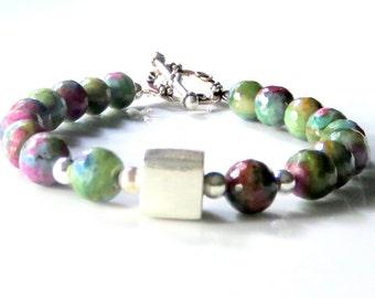 Ruby Zoisite Beaded Bracelet, Modern Gemstone Bracelet, Ruby Zoisite and Silver, Green and Cranberry, Sterling Silver Gemstone Bracelet