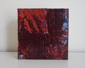 """Miniature Abstract Art - Small Acrylic Painting on Wood by Lisa Carney - Merlot - Gift idea - Collectible art - 6x6"""" - Burgundy and red"""