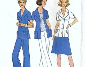 Simplicity 6936 Misses Shirt Jacket, Skirt, Pants 70s Vintage Sewing Pattern Half Size 18 1/2, 20 1/2 Bust 41, 43