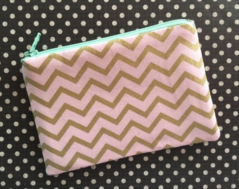 Pink and gold chevron zip pouch - cute change purse - pink pouch - chevron zipper pouch - gold chevron - pink wallet - zipper pouch