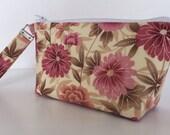 Pink rose makeup bag  medium size  cosmetic purse  clutch purse  zipper pouch