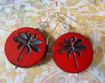 Ruby Red Dragonfly Earrings