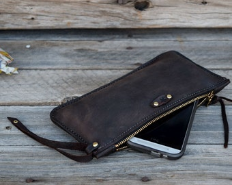 Leather Clutch / Pencil case / Accessory Pouch / Hand Stitched Leather / Half Pint Zipper Clutch / Large Wallet / Feral Empire