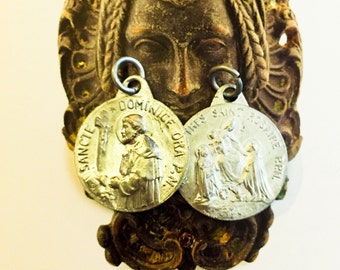 2pcs QUEEN ROSARY MEDALS Vintage Religious St. Dominic French Aluminum Signed Karo