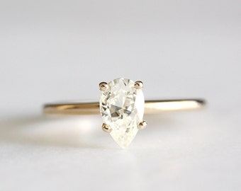 14k gold pear moissanite engagement ring, eco friendly, handmade, limited stock