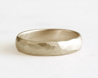14k gold rough facet band, eco friendly, handmade, 5mm
