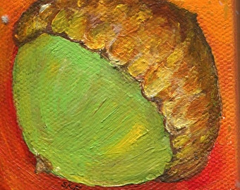 Acorn Mini Canvas Original Fall Painting, with Easel, Autumn, Halloween, Thanksgiving, Fall decor