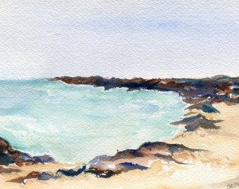 watercolor painting - Aruba original ,ocean art, seascape painting 5 x 7, Aruba beach art, seascape watercolor
