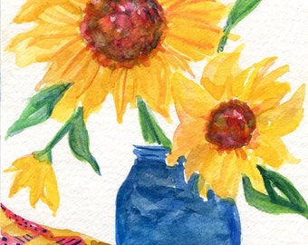 Watercolors Painting - Sunflower watercolor original, sunflowers painting 4 x 6 flowers watercolor, small floral art, sunflower decor