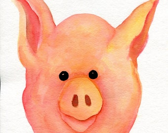 Pig painting, pig watercolors painting original, pig art 8 x 10  animal art, Sharon Foster Art, watercolor painting pig