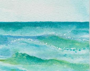 Little Aruba original seascape watercolor with easel, Original