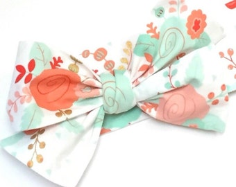 Headwrap, Girls Headwrap, Baby Girl Headwrap, Head Wrap, Girls Headband, Big Bow Headwrap,  Metallic Gold Accents, CORAL & MINT FLORAL