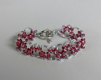 Silver & Red Hodo Chainmaille Bracelet