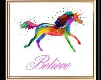 Unicorn, Watercolors, PRINT, Believe in Unicorns by Patricia Ann Rizzo