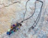 RESERVED Multi GEMSTONE necklace, Y silver necklace, Tourmaline, Kyanite, Tanzanite, Garnet, Citrine, Amethys, orange Garnet, Iolite, oxidiz