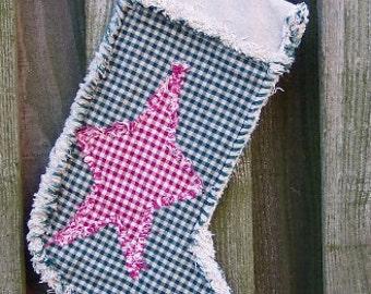 Rag Quilt Christmas Star Stocking ePattern PDF