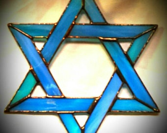 Large Star of David stained glass suncatcher