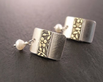 Rectangular Post Earrings with Floral Aloha Stripe