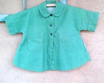Vintage 1940s Girls Coat Green Linen New Look Childs Vintage Sz 4 2016204