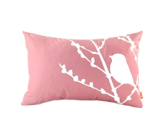 Rose Pink Bird on Cherry Blossom Rectangle Pillow