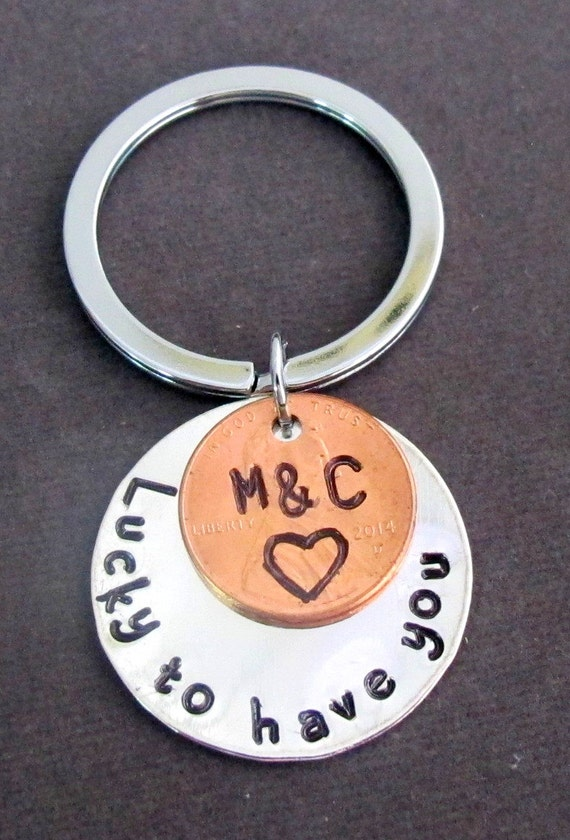 Lucky to Have You Handstamped Disc W/Penny Coin Keychain,Couples Key Chain,Anniversary Gift, Weddin gift for Groom & Bride,Free Shipping USA
