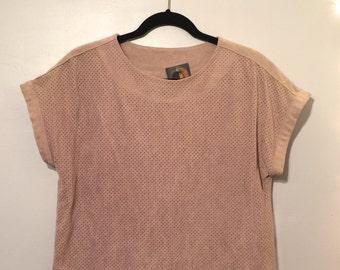 Vintage Simple Pale Pink FAUX SUEDE Mesh Box Top sz L