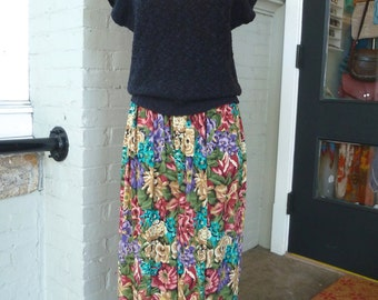 Vintage 90s FLORAL MAXI Classic Full Skirt sz M