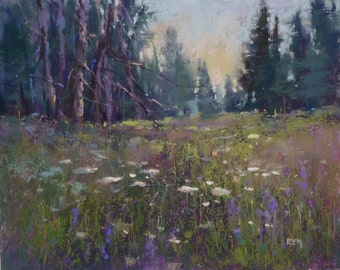 Maine Woods, forest with wildflowers Landscape Original Pastel Painting 8x10