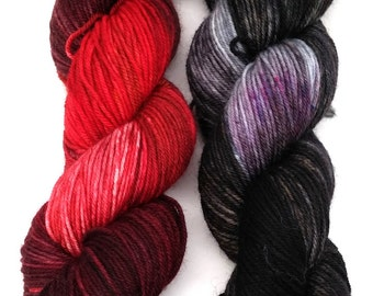 Bloody Mess and Moonlit Cemetery- 2 x 231 yds 4 ply fingering wt yarn, superwash merino and nylon, ooak, shawl, cowl, gift, knit, crochet